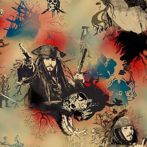 Creative Cuts Cotton Fabric, Disney Pirates of the Caribbean Jack Sparrow Print, Tan