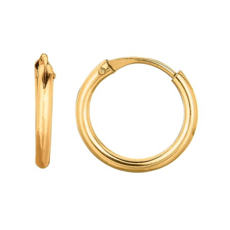 10k Yellow Gold 1x10mm Shiny Small Endless Round Hoop Earrings With Hinged Clasp - .2 Grams