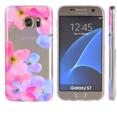 Mundaze Samsung Galaxy S7 TPU Watercolor Enchanted Flowers Pink, - Pink Watercolor Flowers