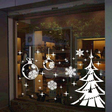 White Snowflake Merry Christmas Tree Vinyl wall sticker Decals Window Decor](Snowflake Decals)