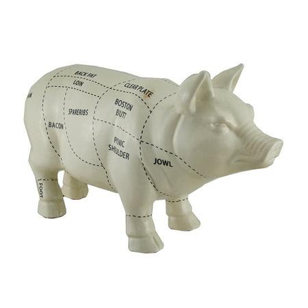 - White Ceramic Butcher Chart Pig Statue 16 in.