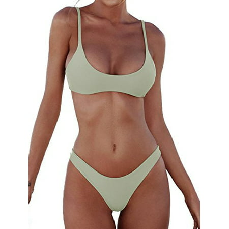 Sexy Womens Two Piece Strap Bikini Set Padded Swimsuit Top Triangle Bottom Bikini Swimsuit Bathing - Top Sexy Set