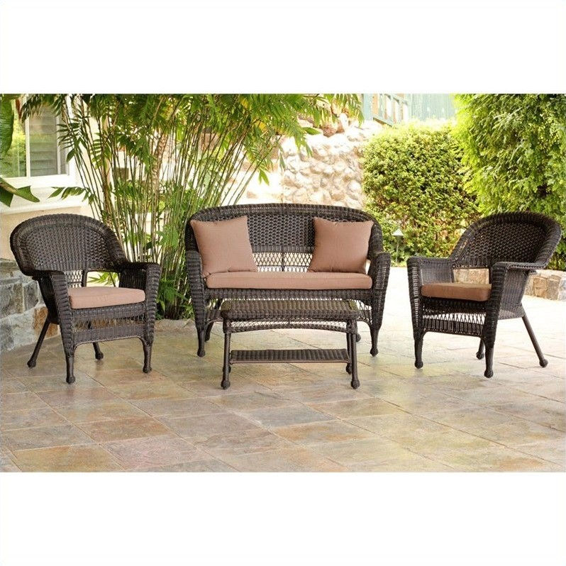 Jeco 4pc Wicker Conversation Set in Espresso with Cocoa Brown Cushions