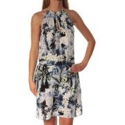 KENSIE Womens Black Floral Sleeveless Keyhole Above The Knee Fit + Flare Dress  Size: XL