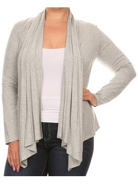 b1f87ab6f0b091 Product Image BNY Corner Women Plus Size Long Sleeve Drape Open Cardigan  Casual Cover Up Heather Gray 1X