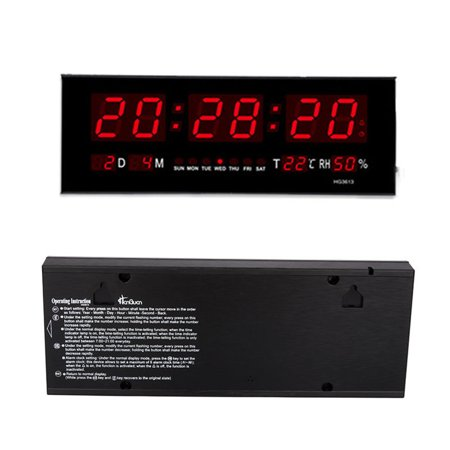 HURRISE Modern LED Alarm Clock Calendar Clock With Thermometer Temperature Display,Red - image 2 de 7