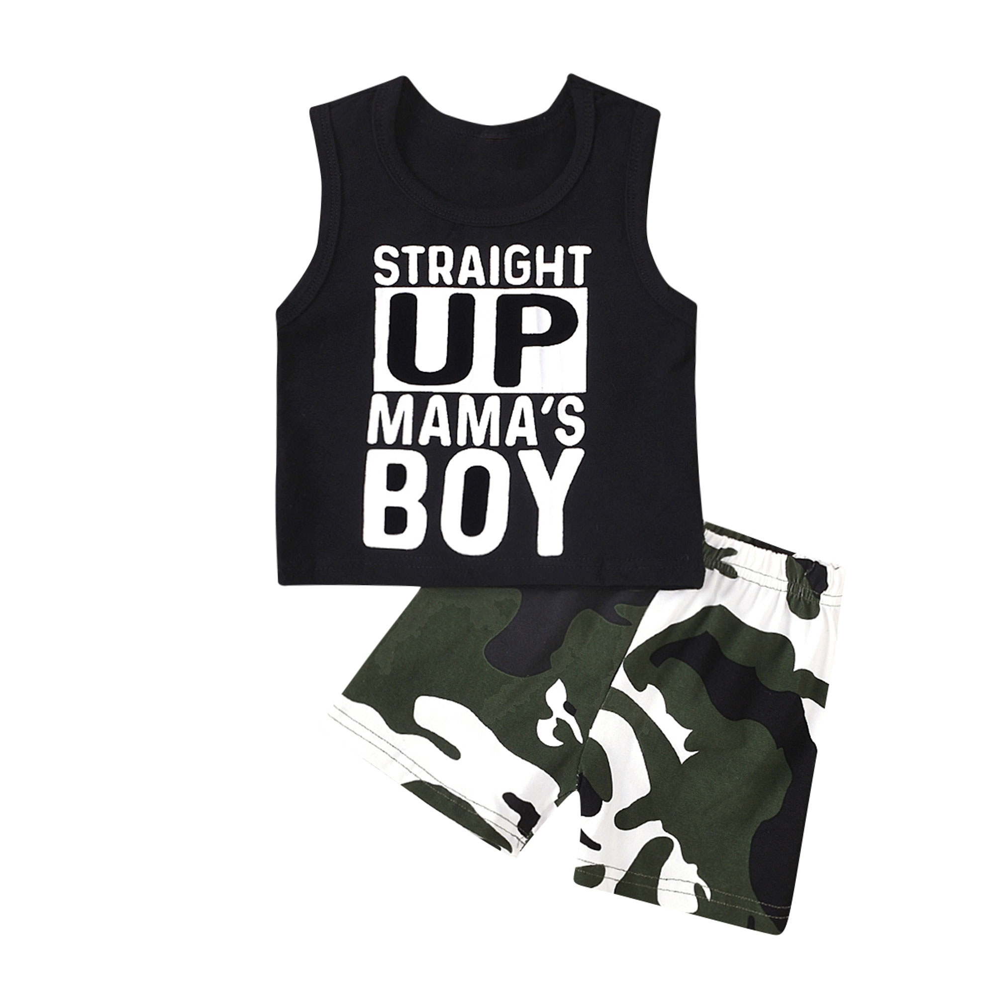 Kids Summer Pants Boys Set Sleeveless Printed Top Vest Camouflage Overall Bottom