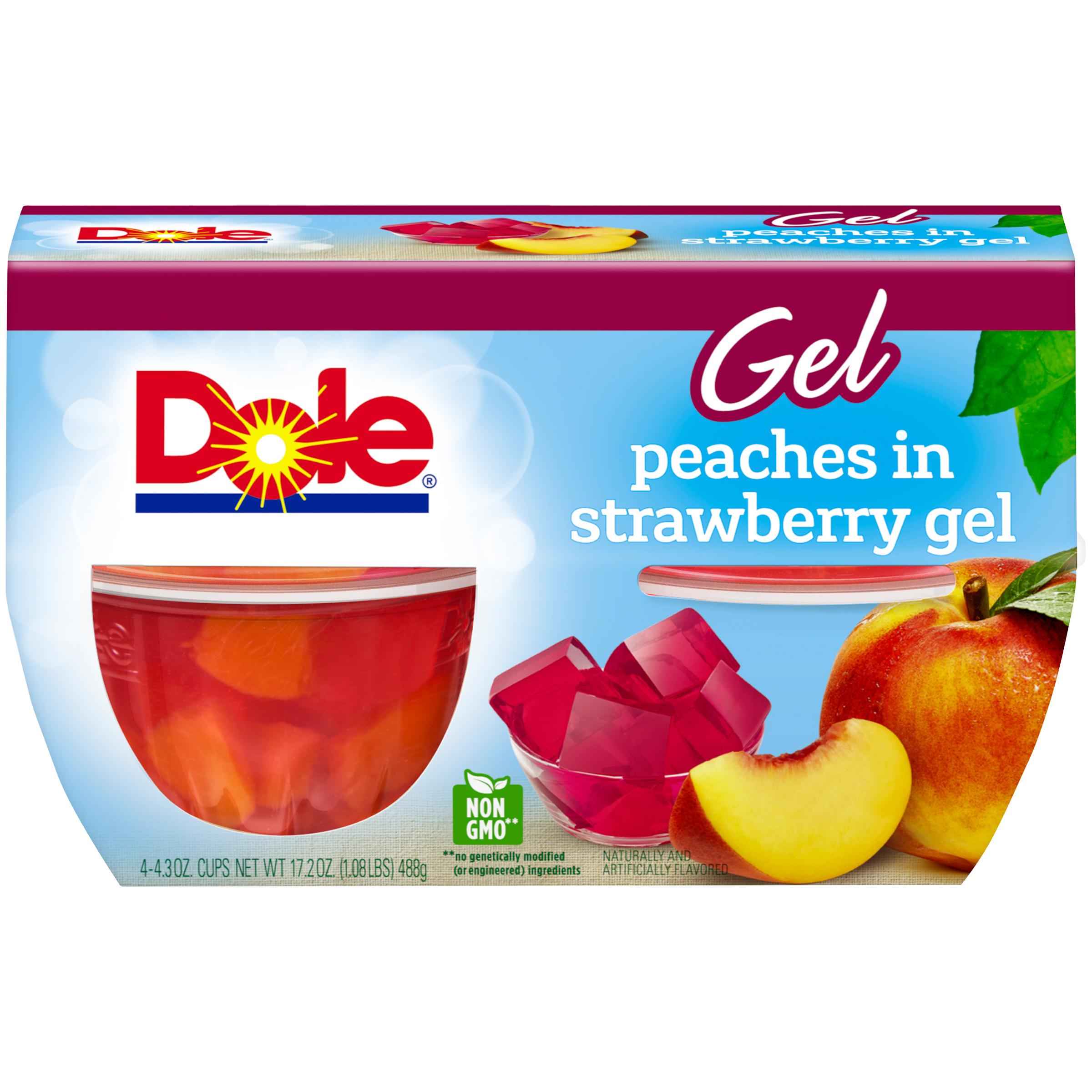(2 pack) Dole Fruit Bowls, Peaches in Strawberry Gel, 4.3 Ounce (4 Cups)