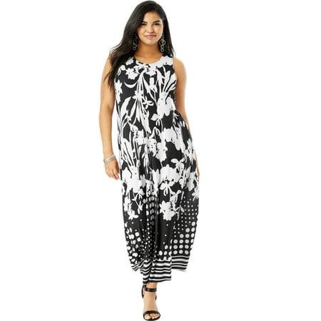 Roaman\'s Plus Size Print Maxi Dress