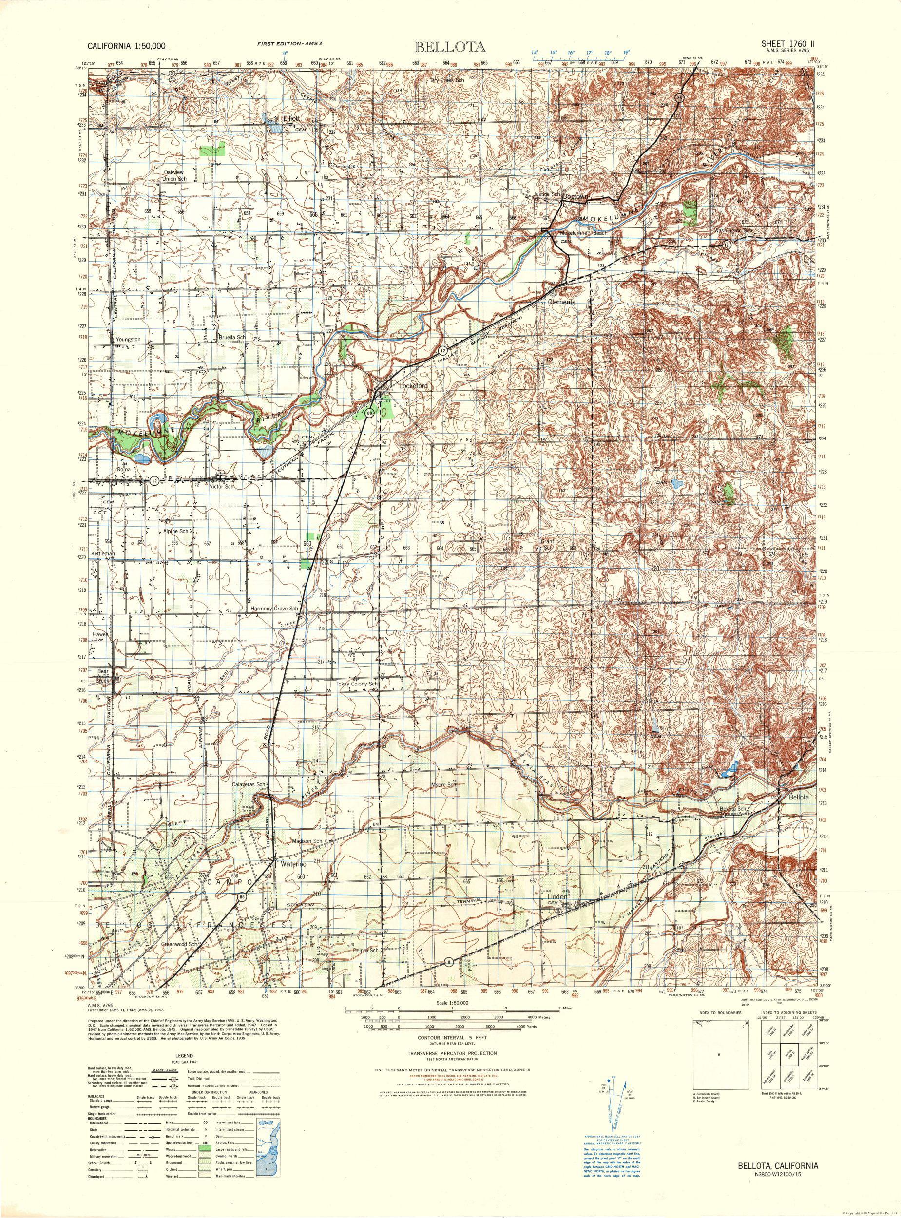 Topographic Map Bellota California Sheet Us Army 1942 23 X
