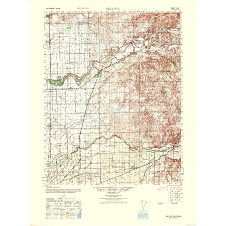Topographic Map Bellota California Sheet Us Army 1942 23 X - Us-army-topographic-maps