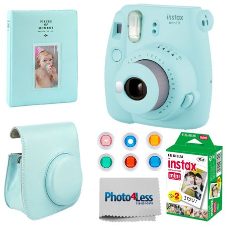 FUJIFILM INSTAX Mini 9 Instant Film Camera (Ice Blue) + Photo Album + Fujifilm Instax Mini Film Twin Pack - (20 Shots) + Fuji Case with Strap + 6 Colored Lens Filters + Photo4Less Cleaning Cloth (Filme Halloween 20)
