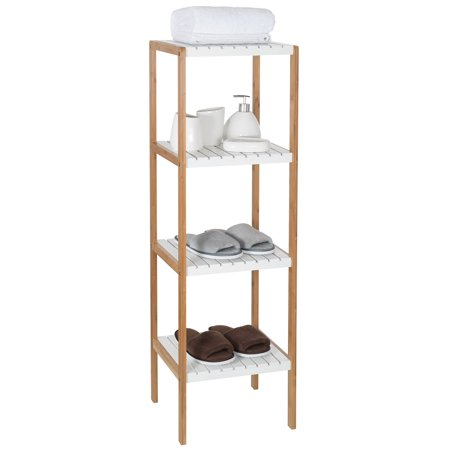 Mllieroo Bamboo 4-Tier Multifunctional Bathroom Shelf Tower Free Standing Rack Plant Flower Display Stand Storage Organizer