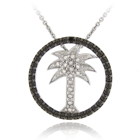 Sterling Silver Black Diamond Accent Palm Tree in Circle Pendant