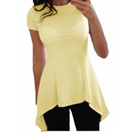 Women O-neck Short Sleeve Irregular Hem Slim Fit Peplum Tunic Tops Blouse ()