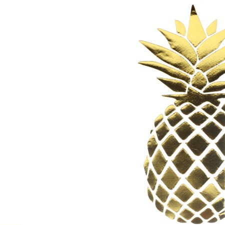 Andaz Press Gold Foil Lunch Napkins 6.5-Inch, Pineapple, 50-Pack, Shiny Metallic Party Supplies Tableware - Pineapple Party