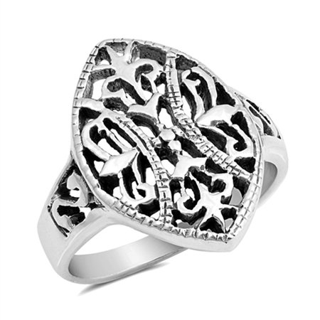 Large Filigree Marquise Shape Vintage Design 925 Sterling Silver Ring ( Sizes 5 6 7 8 9 10 ) Rings by Sac Silver (Size 8) (Shape Filigree Design)