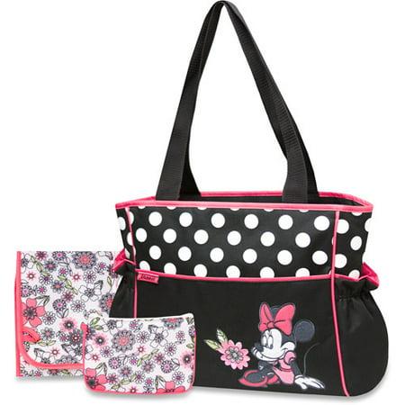 Disney Baby Minnie Mouse Coral Floral 3-Piece Diaper Bag Set - Walmart.com 5c23dd40a2683