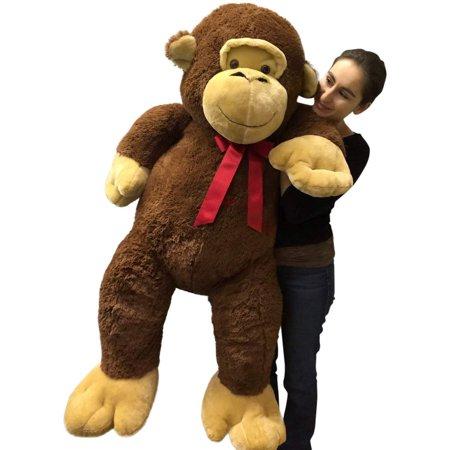 Giant Stuffed Monkey 5 Feet Tall Soft Brown Large Plush Animal 60