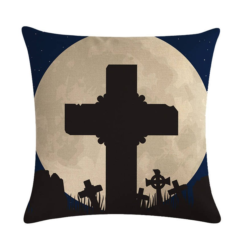 Halloween Moon Series Pillow Covers Cotton Linen Bed Home Pillow Case Smooth Pillowcase for Home Office Decoration