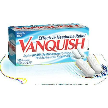 2 Pack - Vanquish Pain Reliever Effective Headache Relief, 100 Caplets Each (Headache Pain Relievers)
