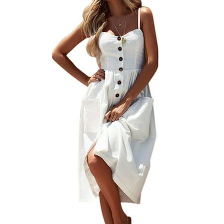 Womens Summer Holiday Beach Bardot Button Through Ladies Sling Long Smock Sun Dress (Summer Beach Sun Spring)
