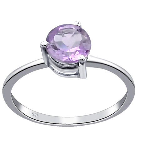 Orchid Jewelry Sterling Silver 0.45 Carat Purple Amethyst Engagement Ring Size -7