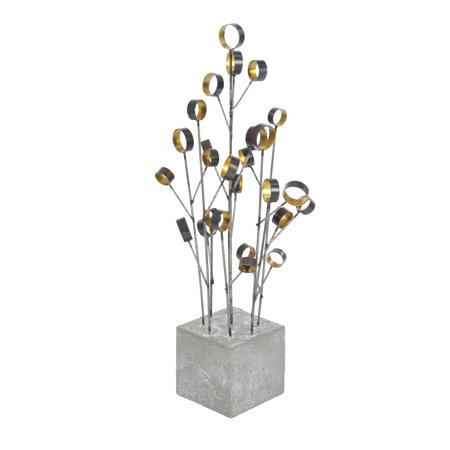Decmode Contemporary 24 x 8 inch iron and concrete abstract flower decor, Gray