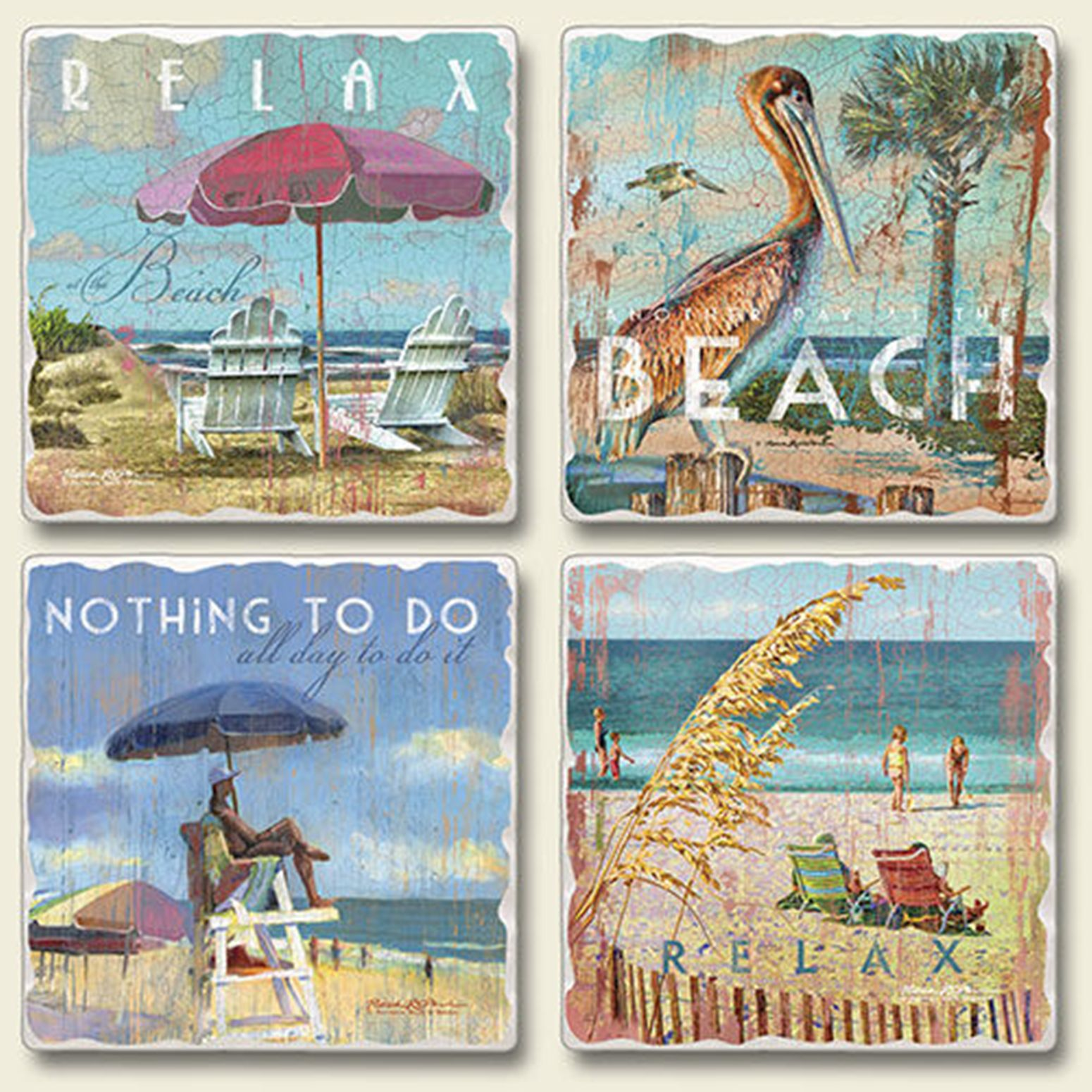 Relax at the Beach Absorbent Tumbled Stone Coasters Set of 4 Highalnd Graphics