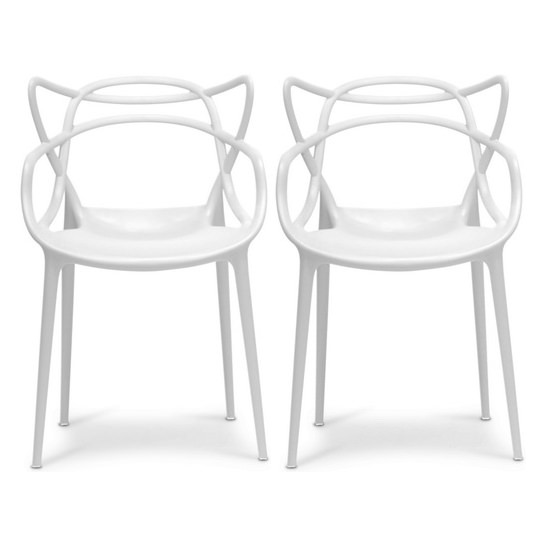 2xhome Set Of 2 White Stackable Contemporary Modern