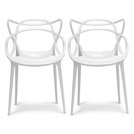 Strange 2Xhome Set Of 2 White Stackable Contemporary Modern Designer Plastic Chairs With Arms Open Back Armchairs For Kitchen Dining Chair Outdoor Patio Ncnpc Chair Design For Home Ncnpcorg