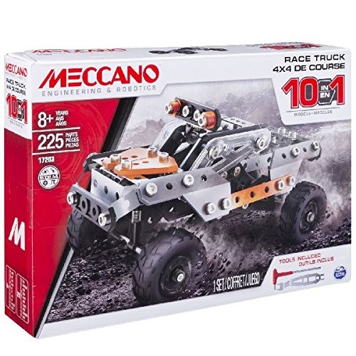 Meccano Erector, 10 in 1 Model Race Truck Building Set, 225 Pieces, for Ages 8 and up, STEM Construction Education Toy