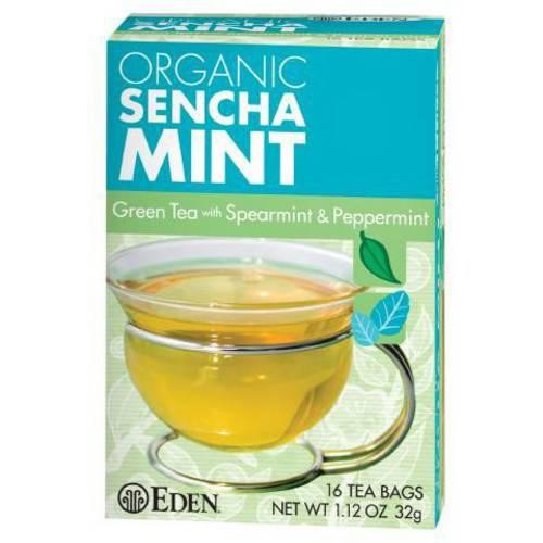 Eden Organic Eden Sencha Mint Green Tea, Organic, 16 Count (Pack of 6)