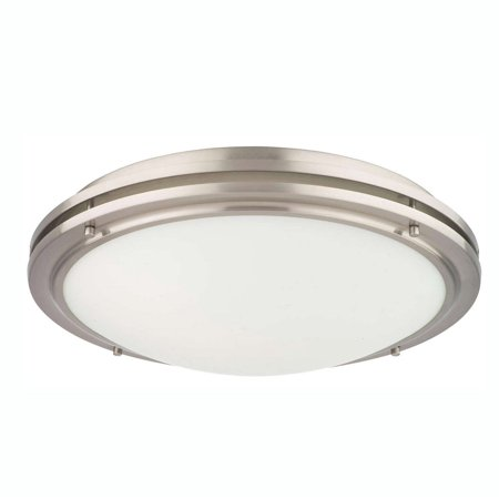 Philips Forecast West End 1 Light Glass Ceiling Flushmount, Satin Nickel Finish ()