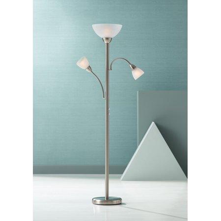 Possini Euro Design Modern Torchiere Lamp Adjustable Arm 3-Light Brushed Steel White Crackle Glass Pole Dimmer for Living Room