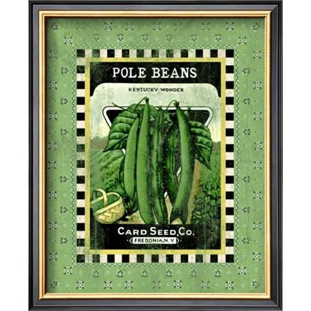 Bean Pole Clothing (Pole Beans Seed Pack Framed Giclee Print Wall Art  - 11x13 )