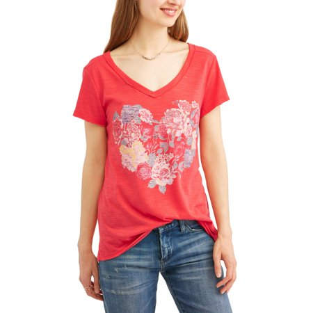 Women's Graphic Tee with Raw Edge Details