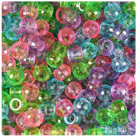 BeadTin Soft Mix Transparent 9mm Faceted Barrel Pony Beads (500pcs) Faceted Chalcedony Beads