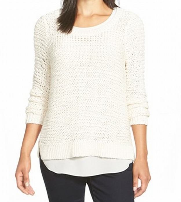 Eileen Fisher NEW Ivory Womens Large L Chunky-Knit Scoop Neck Sweater