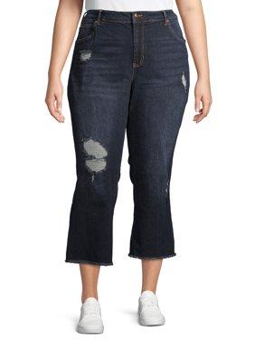 No Boundaries Juniors' Plus Size Crop Kick Flare Jeans