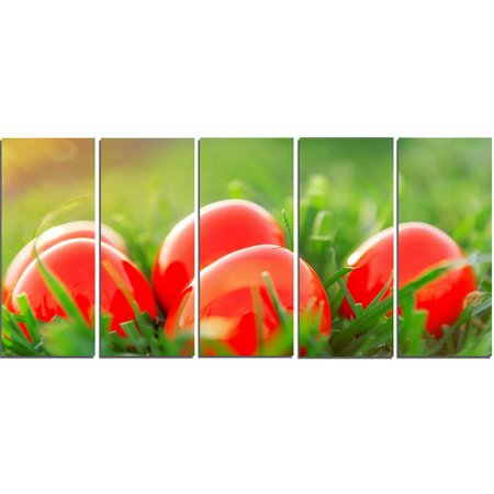 Design Art Red Easter Eggs in Green Grass 5 Piece Photographic Print on Wrapped Canvas - Red Easter Grass