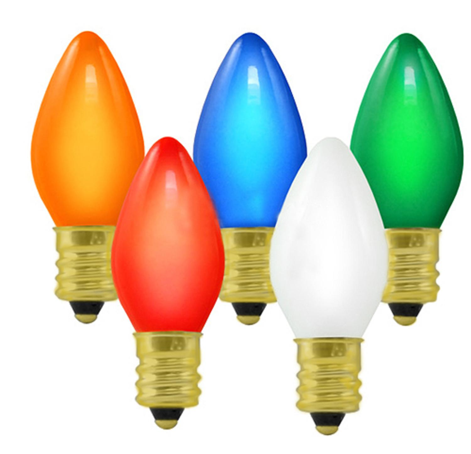 Club Pack of 100 C7 Ceramic Multi-Color Replacement Christmas Light Bulbs
