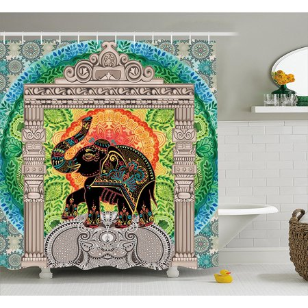 Indian Shower Curtain By Legendary Deity On Ancient Historical Pantheon Tower Arch Myth Traditional Graphic Design Fabric Bathroom Decor Set With