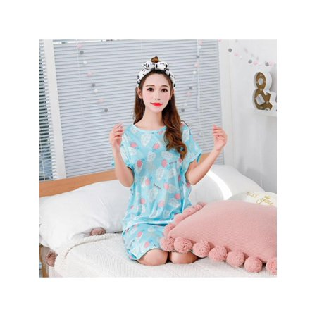Maraso Women Summer Short Sleeve Cute Cartoon Dress Home clothing Loose Nightdress - Ladies Clothing Dresses