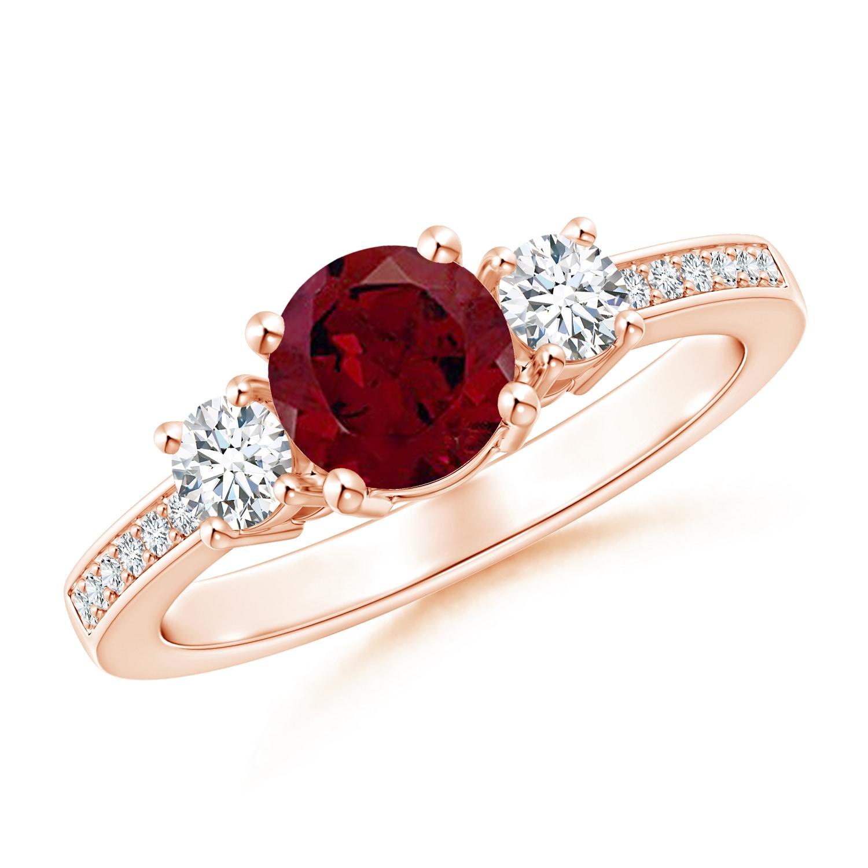 Angara Valentine Jewelry Gift Classic Three Stone Garnet And