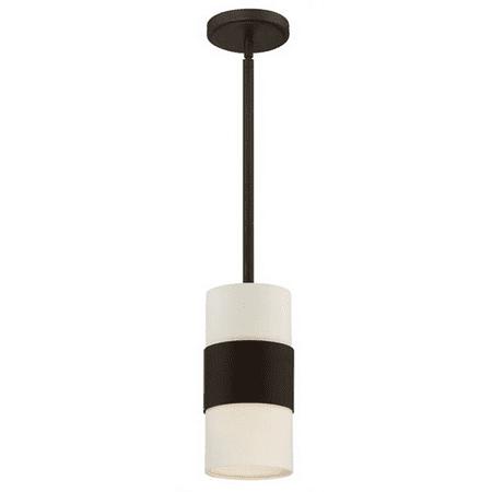 Pendants Porch 1 Light With Steel Drum Cream Linen Dark Bronze size 6 in 60 Watts - World of (Dark Bronze 6 Light)