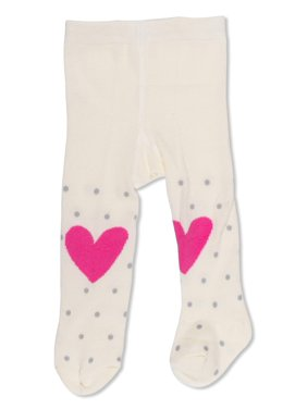 ED Ellen DeGeneres Infant and Toddler Girls Opaque Heart and Dots Design Tights, 1 Pair