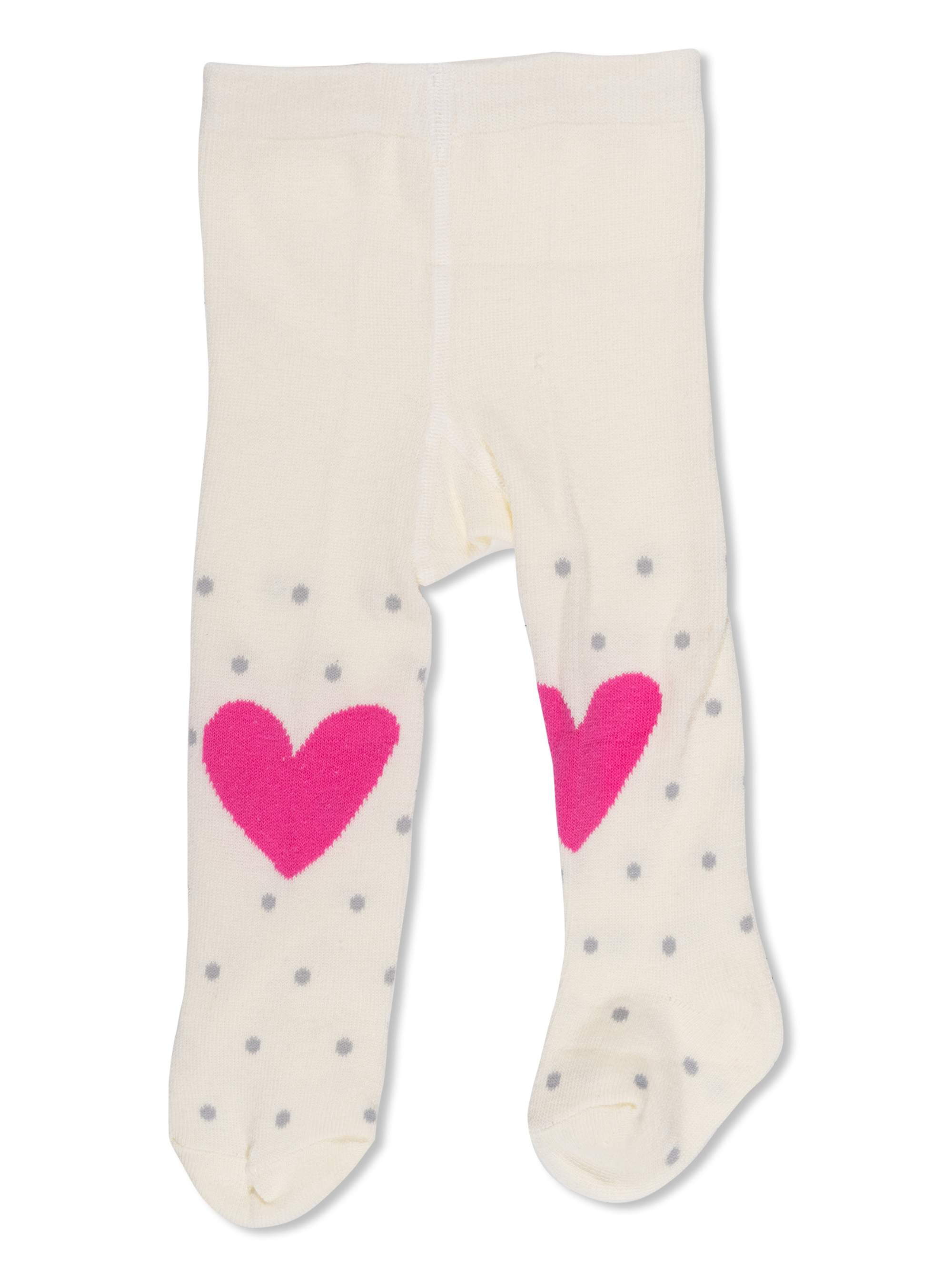 1 Pair Opaque Heart and Dots Design Tights (Infant & Toddler)