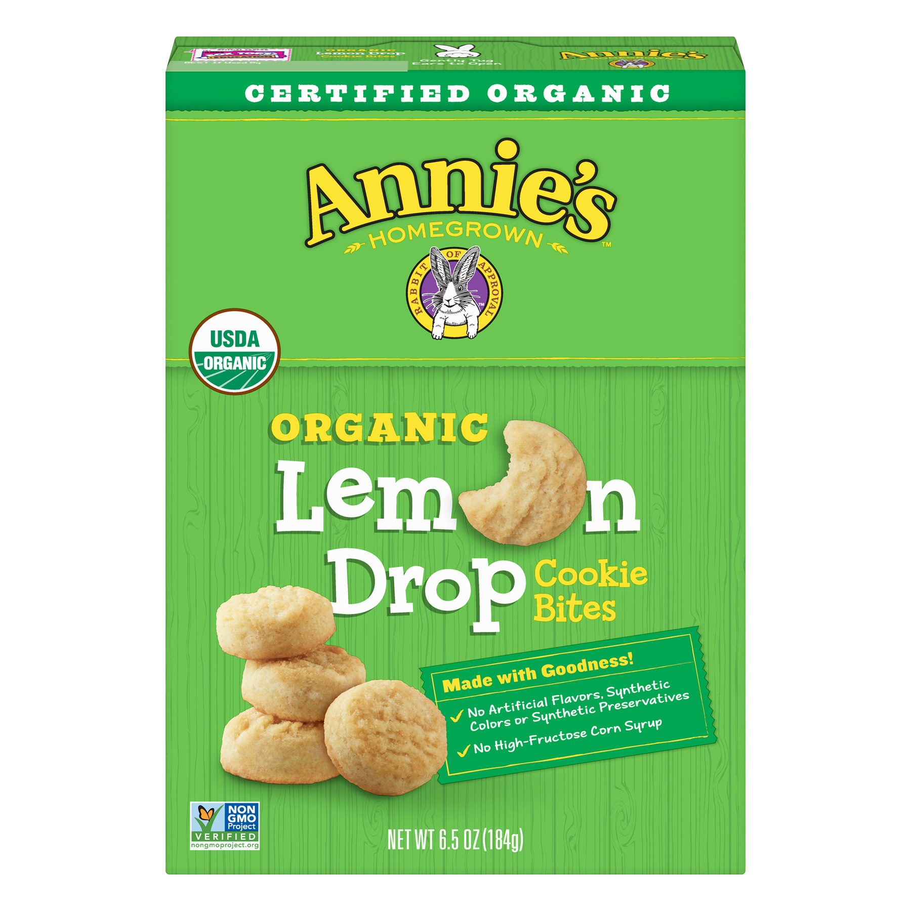 Annie's Certified Organic Lemon Drop Cookie Bites, 6.5 oz