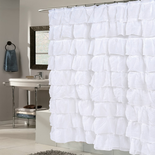 Sweet Home Collection Crushed Voile Ruffled Tier Shower Curtain